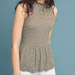 Anthropologie T.la Striped Peplum Olive Tank Small